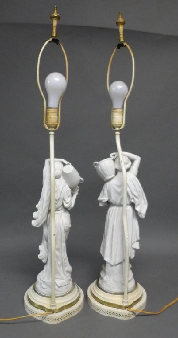 Pair of Parian Bisque Figural Lamps - 10