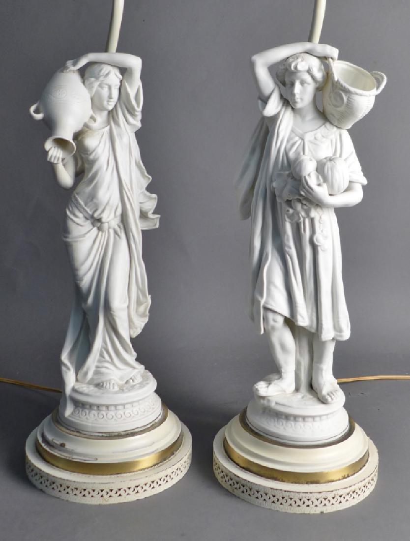 Pair of Parian Bisque Figural Lamps