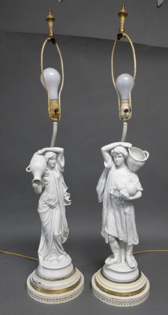Pair of Parian Bisque Figural Lamps - 2
