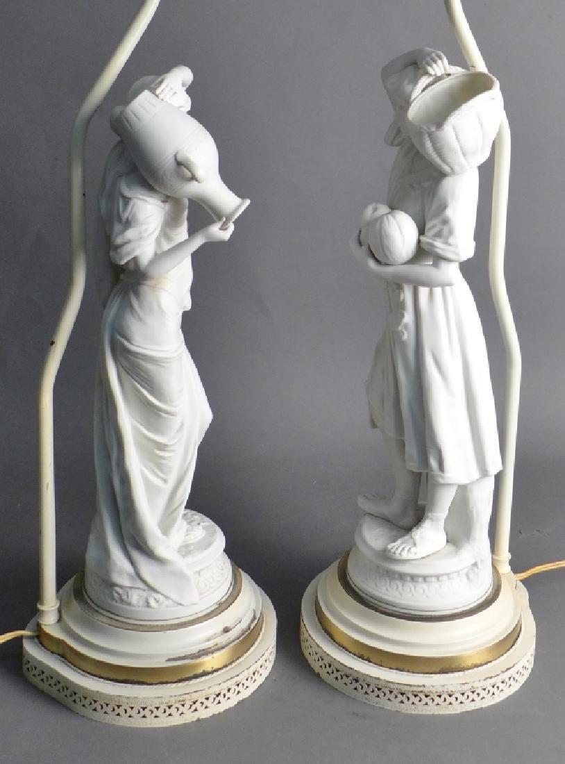Pair of Parian Bisque Figural Lamps - 4