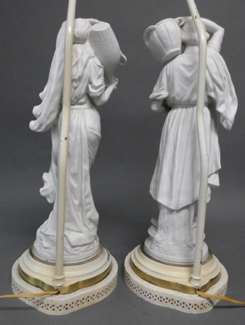 Pair of Parian Bisque Figural Lamps - 5