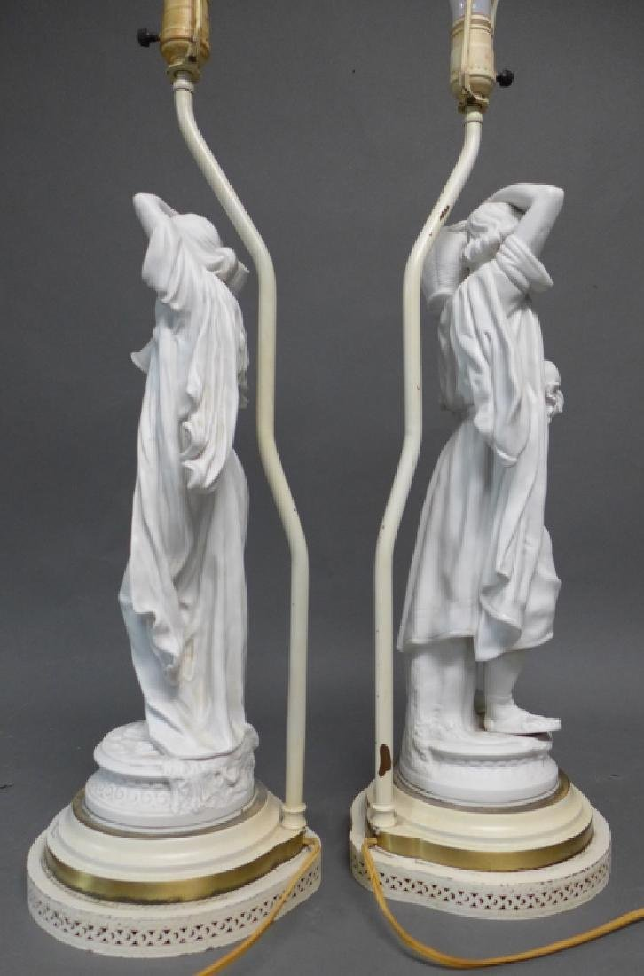Pair of Parian Bisque Figural Lamps - 6