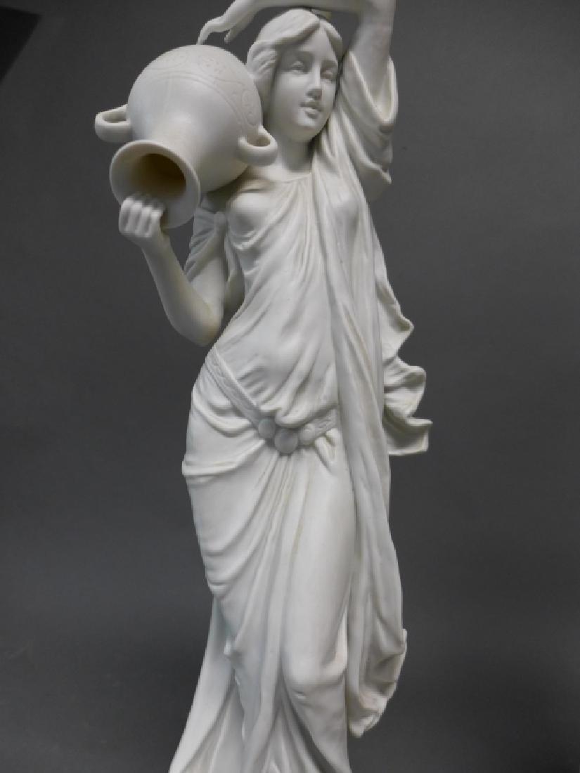 Pair of Parian Bisque Figural Lamps - 7