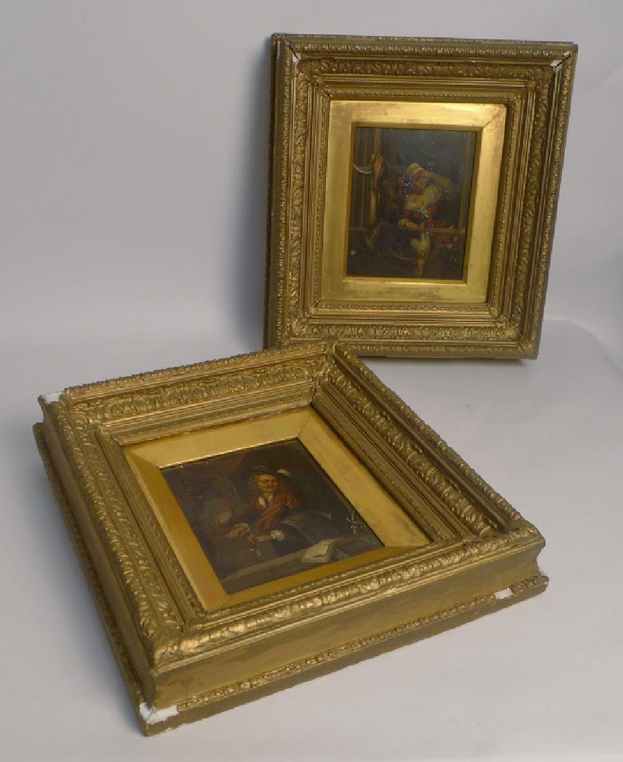 19th Century Figural Oil Paintings on Tin - 10
