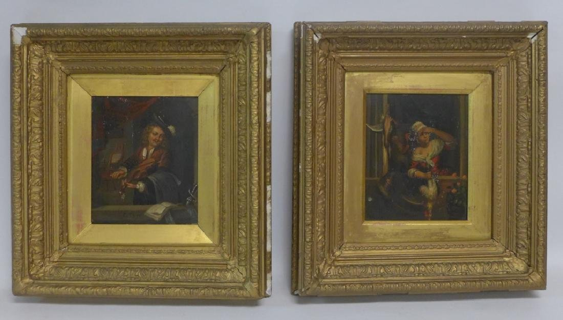 19th Century Figural Oil Paintings on Tin