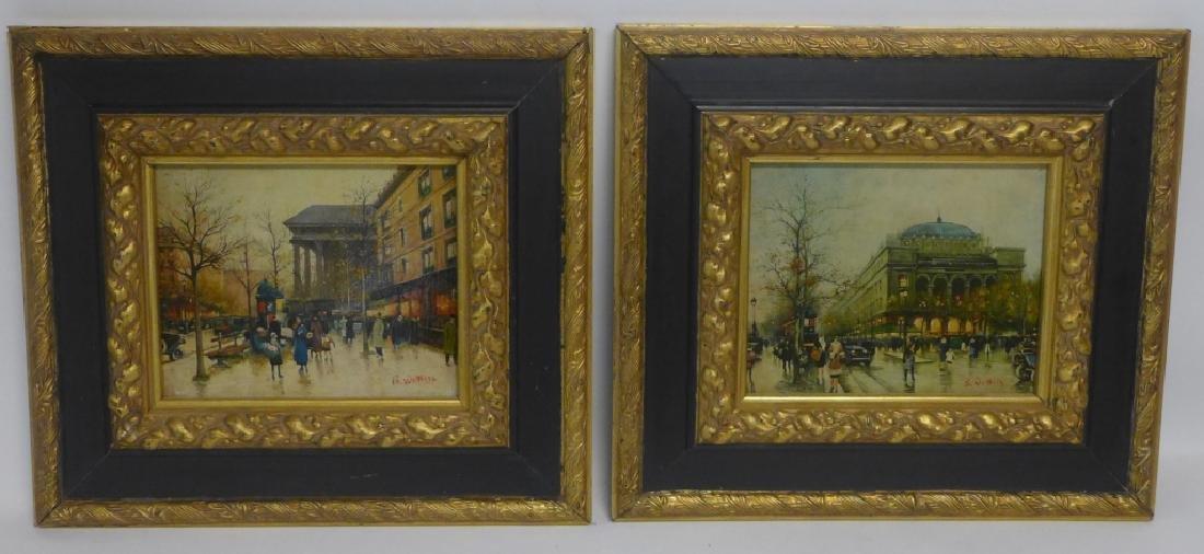 Pair of Gilt Framed Parisian Street Scenes O/B