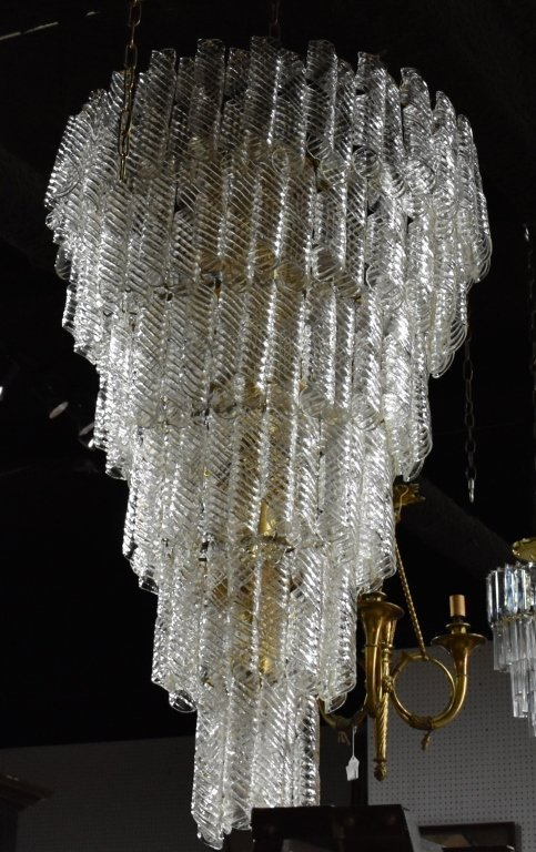Monumental Tiered Glass Chandelier