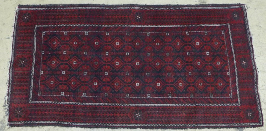 Deep Red Persian Balouch Rug