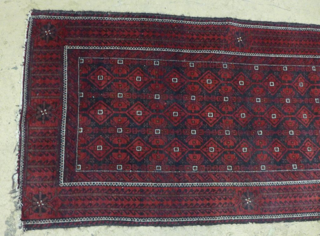 Deep Red Persian Balouch Rug - 2
