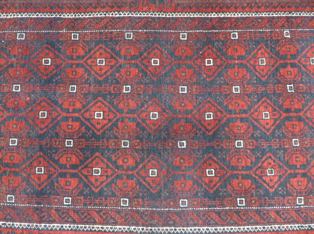 Deep Red Persian Balouch Rug - 4