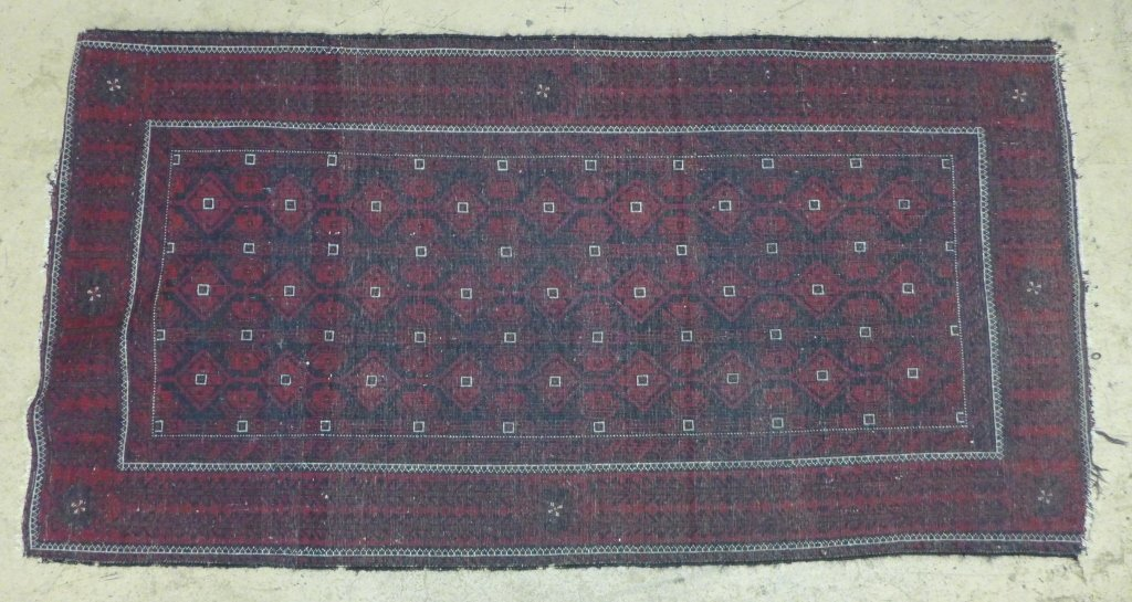 Deep Red Persian Balouch Rug - 5
