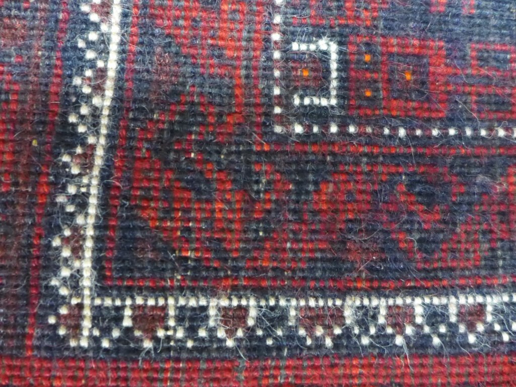 Deep Red Persian Balouch Rug - 8