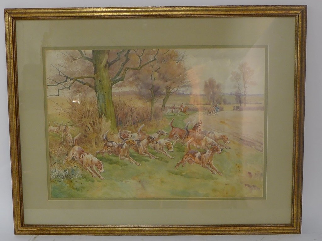 Hunting Scene with Dogs
