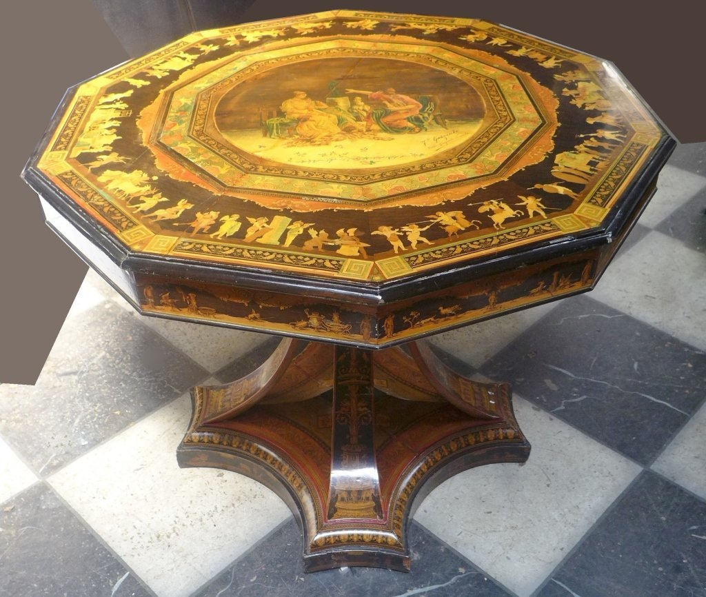 Signed Italian Inlaid & Painted Centre Table