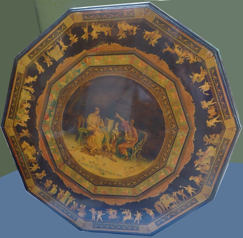 Signed Italian Inlaid & Painted Centre Table - 2