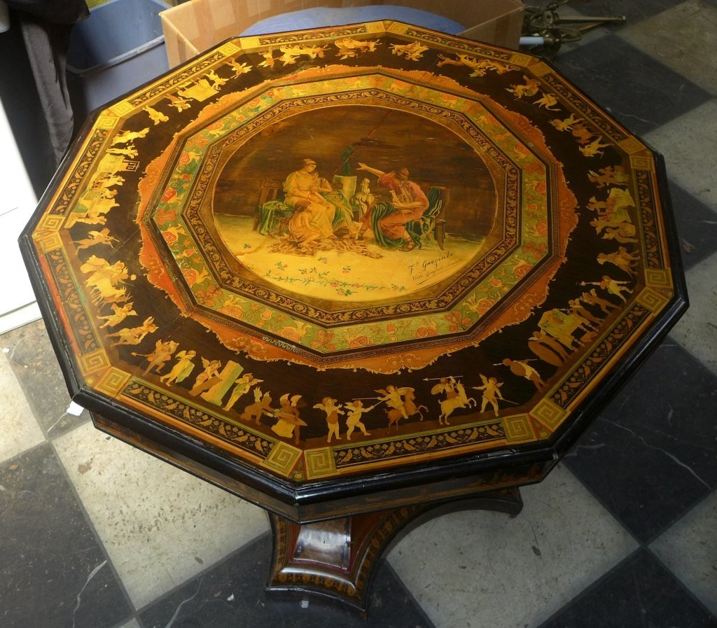 Signed Italian Inlaid & Painted Centre Table - 4