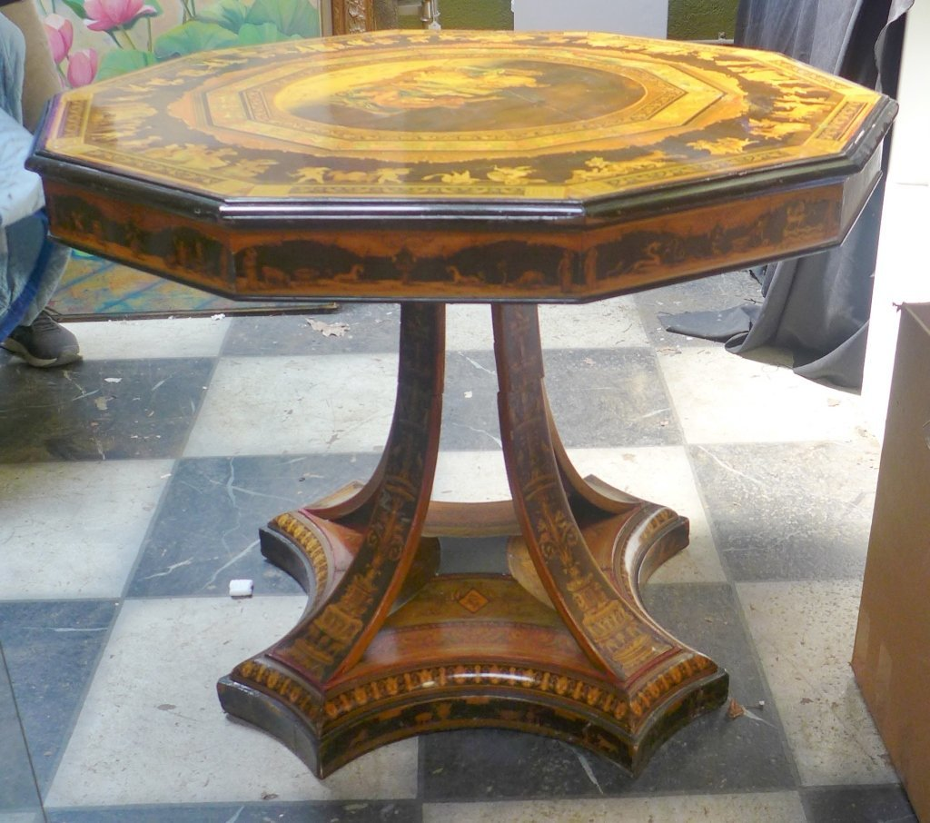 Signed Italian Inlaid & Painted Centre Table - 8