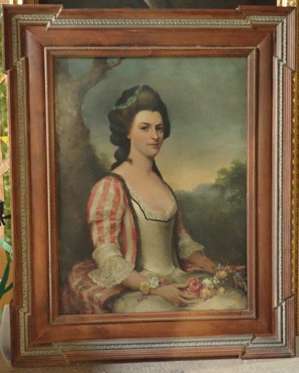 Antique Female Portrait O/C E. S. Hamilton