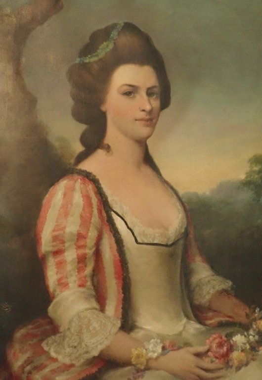 Antique Female Portrait O/C E. S. Hamilton - 2