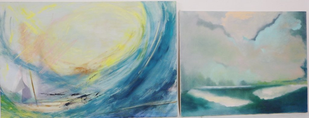 Abstract and Landscape Paintings, Artist Signed - 2
