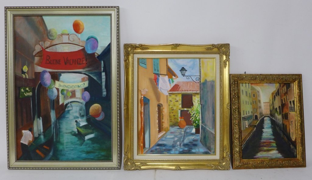 Canal and Alley Way Paintings, Artist Signed