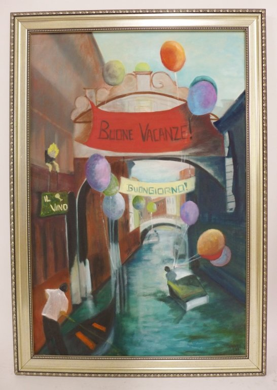 Canal and Alley Way Paintings, Artist Signed - 2
