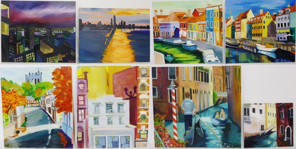 Collection of Cityscape Paintings, Artist Signed