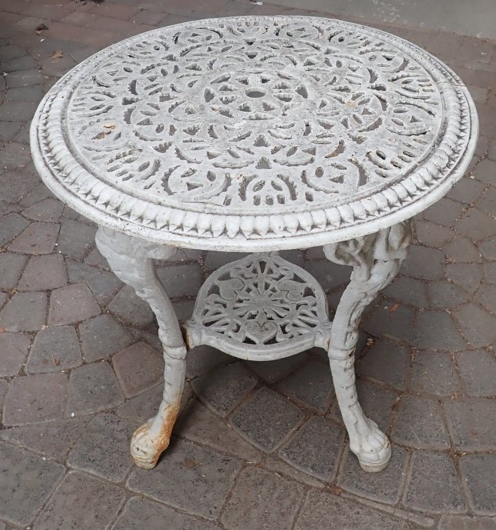 Heavy Painted White Iron Table - 10