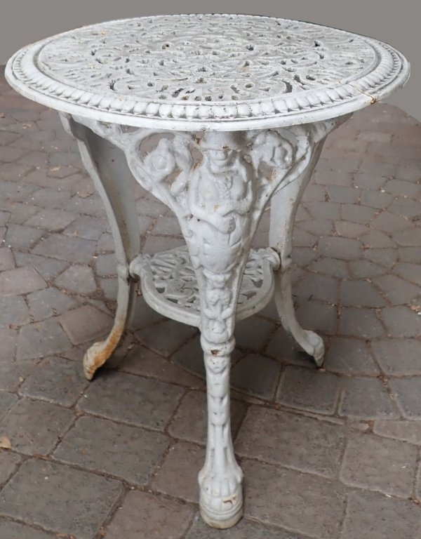 Heavy Painted White Iron Table