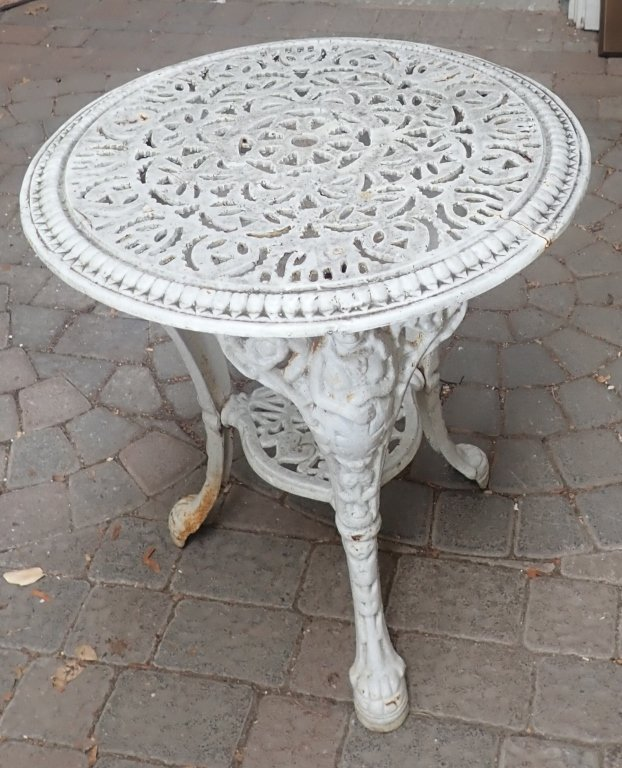 Heavy Painted White Iron Table - 2