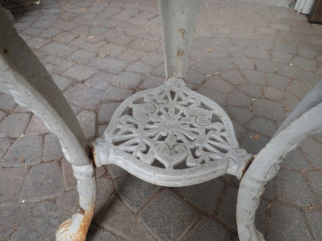 Heavy Painted White Iron Table - 6