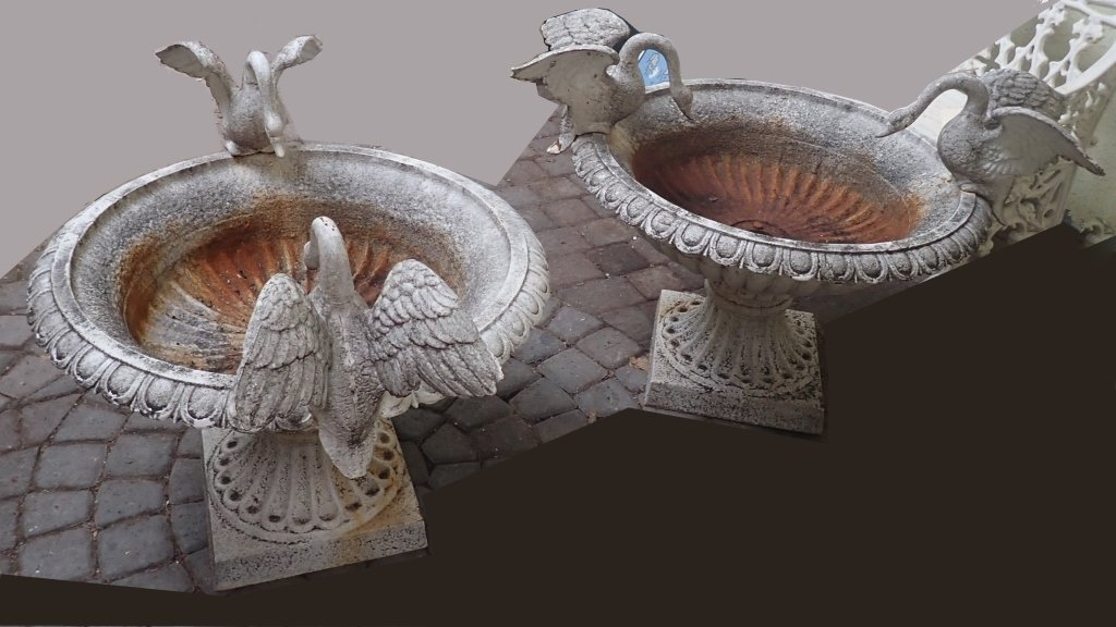 Pair Cast Iron Swan Urns
