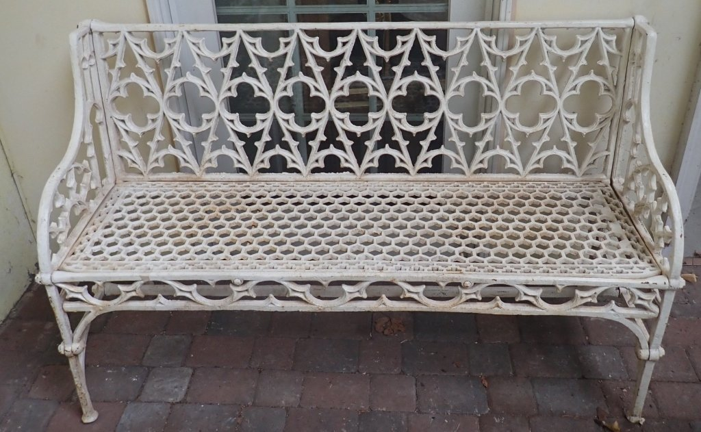 Cast Iron Painted Gothic Bench