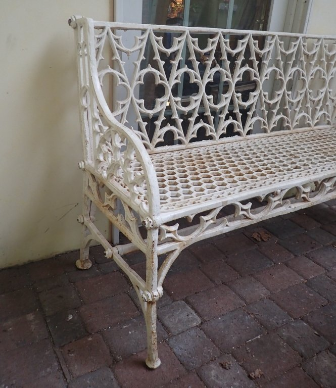 Cast Iron Painted Gothic Bench - 3