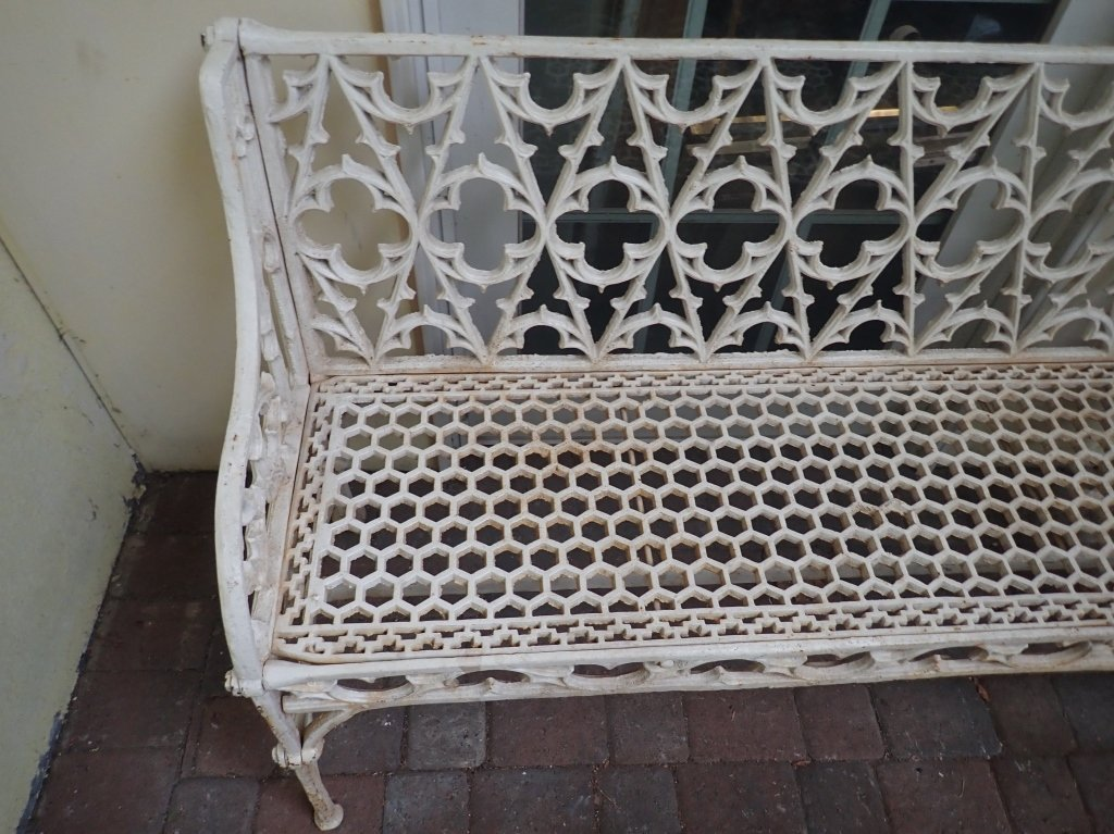 Cast Iron Painted Gothic Bench - 4