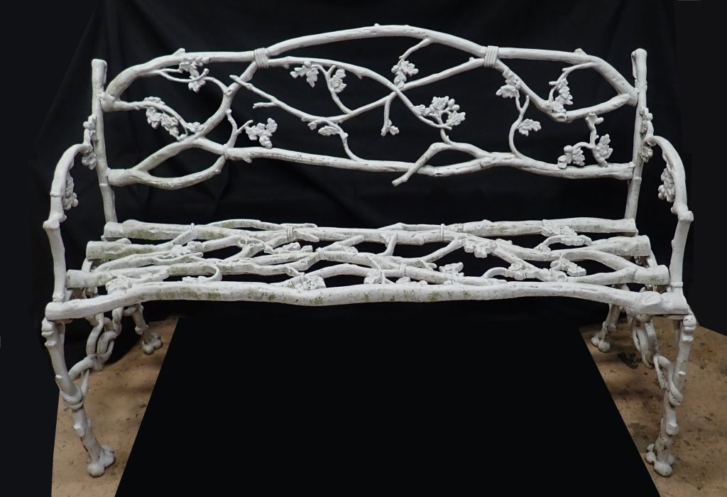Antique Iron Rustic, Twig & Snake Pattern Bench