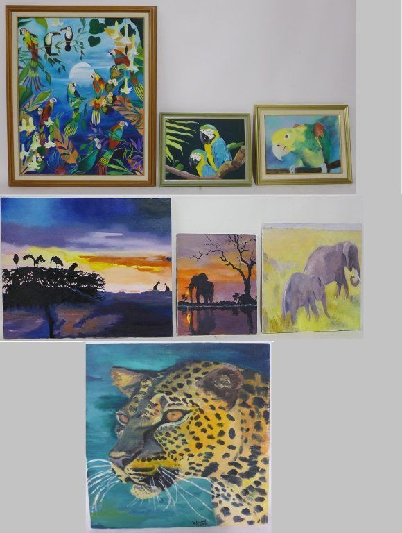 Safari and Parrot Paintings, artist signed