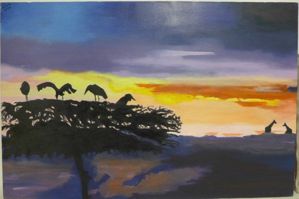 Safari and Parrot Paintings, artist signed - 2