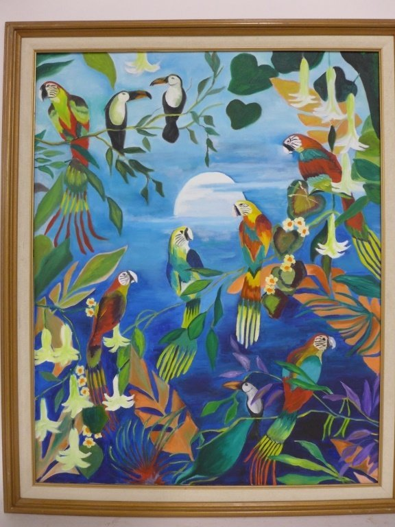 Safari and Parrot Paintings, artist signed - 4