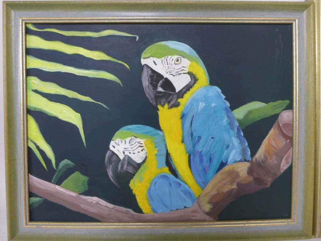 Safari and Parrot Paintings, artist signed - 5