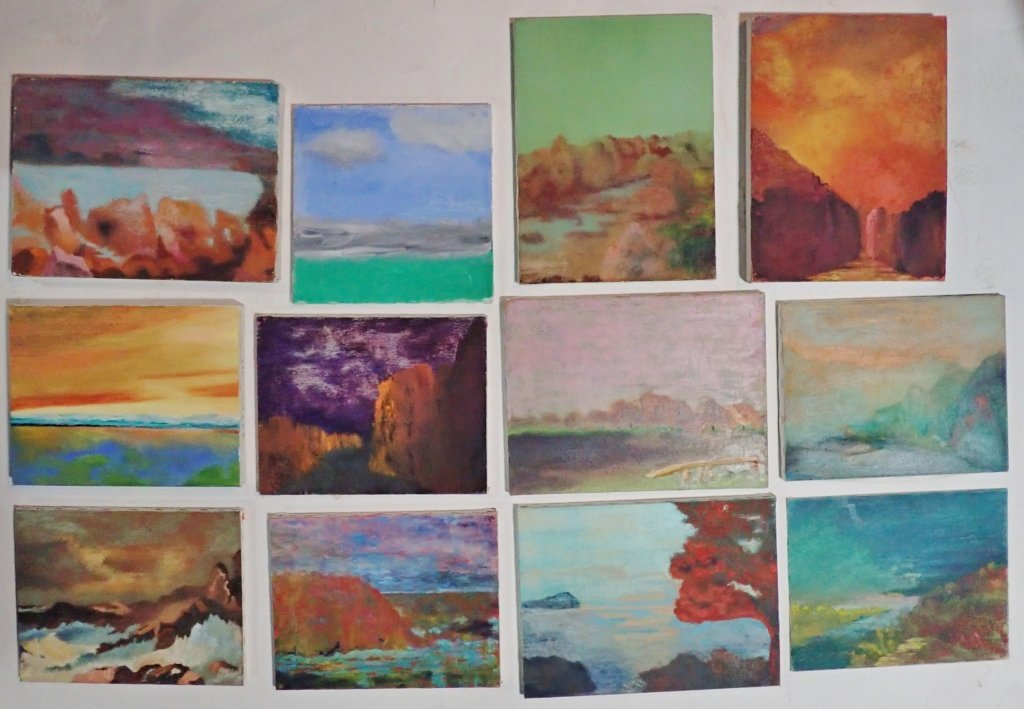 Mix of Abstract Landscape Paintings, Artist Signed