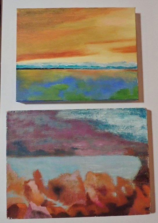 Mix of Abstract Landscape Paintings, Artist Signed - 2