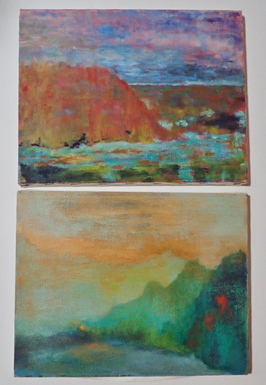 Mix of Abstract Landscape Paintings, Artist Signed - 5