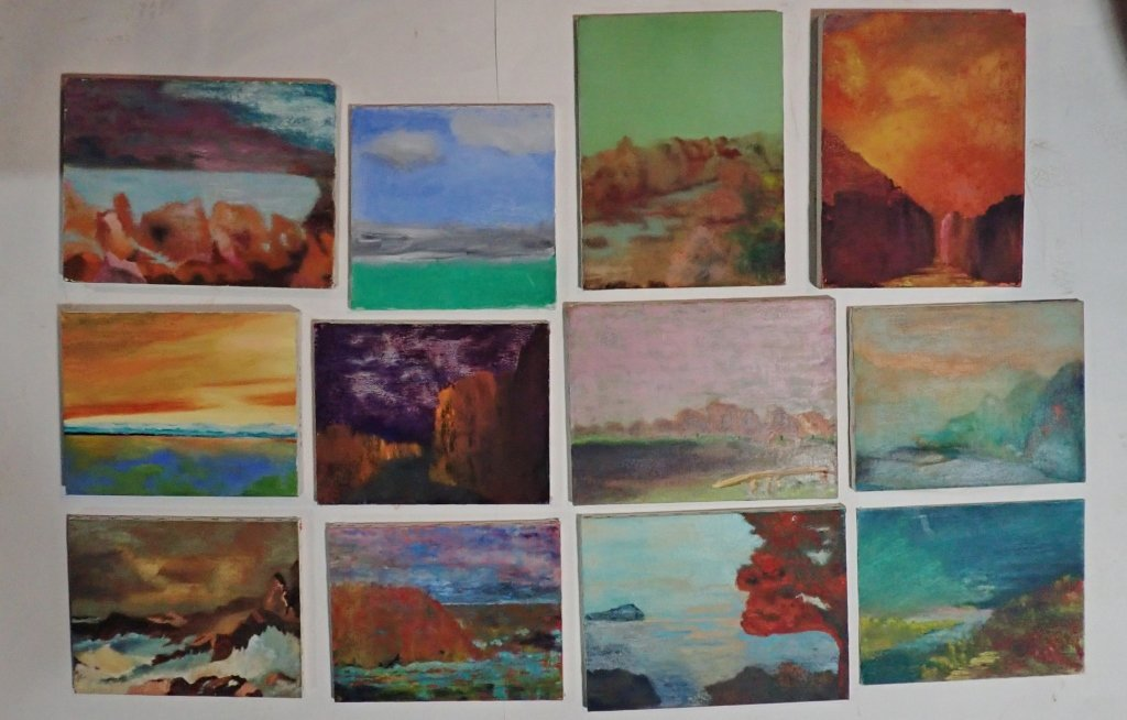 Mix of Abstract Landscape Paintings, Artist Signed - 8