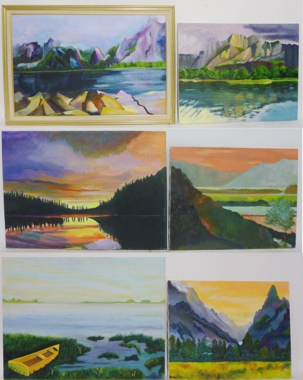 Mountain Scene Paintings, Artist Signed