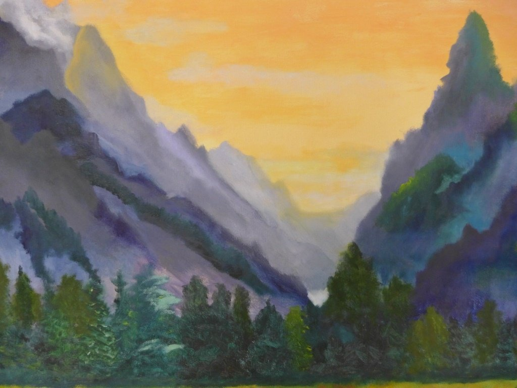 Mountain Scene Paintings, Artist Signed - 7