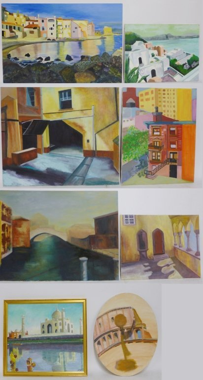 City Scene Paintings, Artist Signed