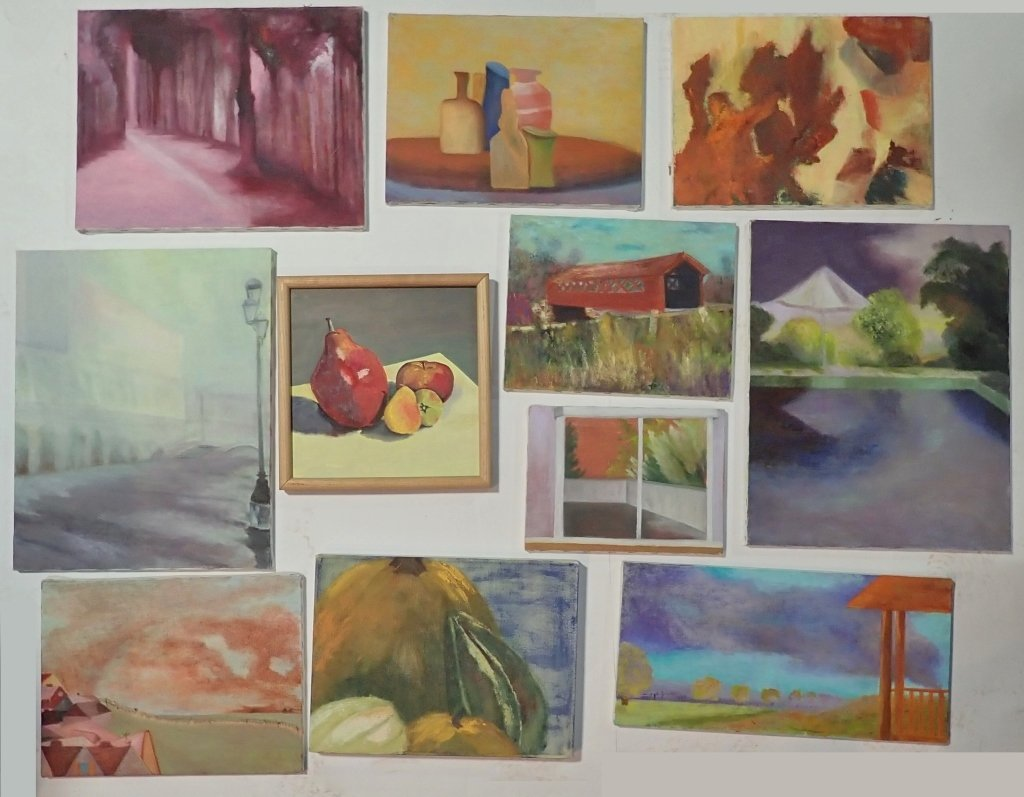 Grouping of Unframed Paintings