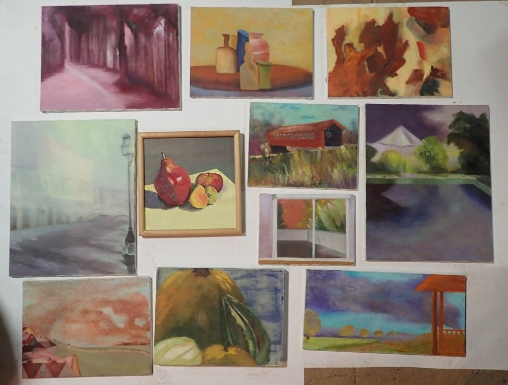 Grouping of Unframed Paintings - 8