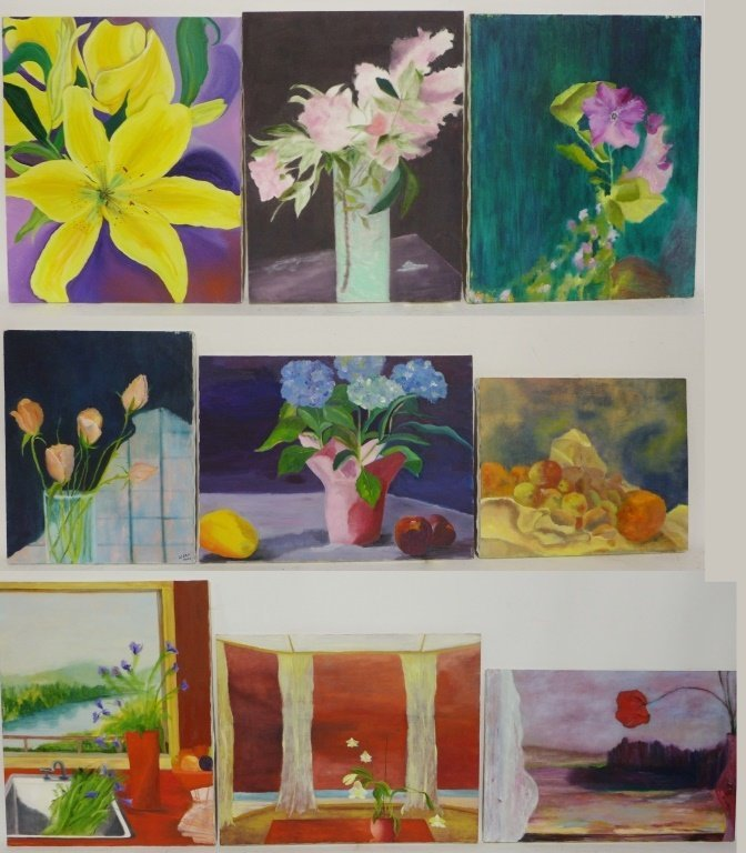 Selection of Flower Paintings, Artist Signed